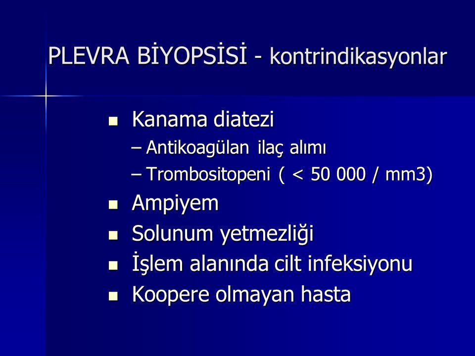 PLEVRA BİYOPSİSİ - kontrindikasyonlar Kanama diatezi Kanama diatezi –Antikoagülan ilaç alımı –Trombositopeni ( < 50 000 / mm3) Ampiyem Ampiyem Solunum