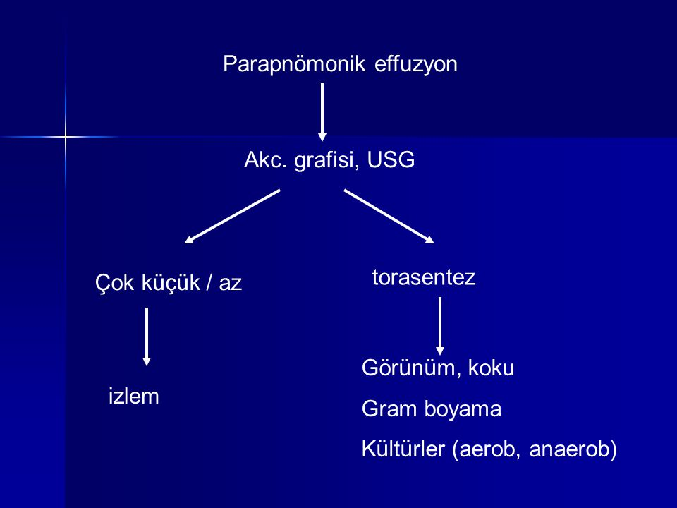 Parapnömonik effuzyon Akc. grafisi, USG torasentez Çok küçük / az izlem Görünüm, koku Gram boyama Kültürler (aerob, anaerob)