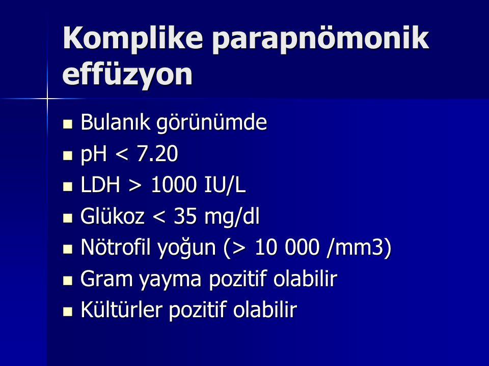 Komplike parapnömonik effüzyon Bulanık görünümde Bulanık görünümde pH < 7.20 pH < 7.20 LDH > 1000 IU/L LDH > 1000 IU/L Glükoz < 35 mg/dl Glükoz < 35 m