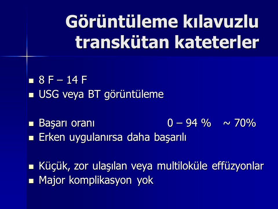 Görüntüleme kılavuzlu transkütan kateterler 8 F – 14 F 8 F – 14 F USG veya BT görüntüleme USG veya BT görüntüleme Başarı oranı0 – 94 % ~ 70% Başarı or