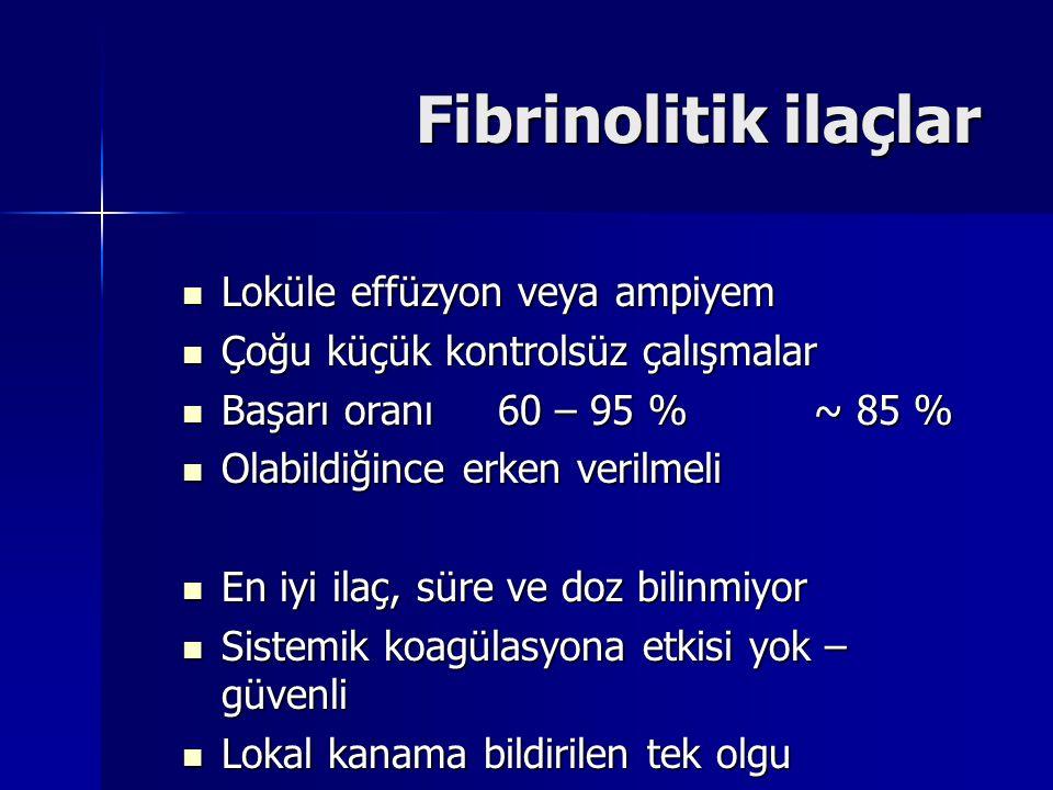 Fibrinolitik ilaçlar Loküle effüzyon veya ampiyem Loküle effüzyon veya ampiyem Çoğu küçük kontrolsüz çalışmalar Çoğu küçük kontrolsüz çalışmalar Başar