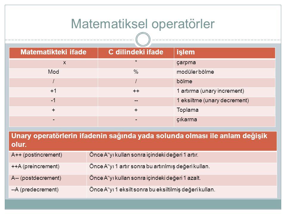 Matematiksel operatörler Matematikteki ifadeC dilindeki ifadeişlem x*çarpma Mod%modüler bölme //bölme +1++1 artırma (unary increment) --1 eksiltme (un