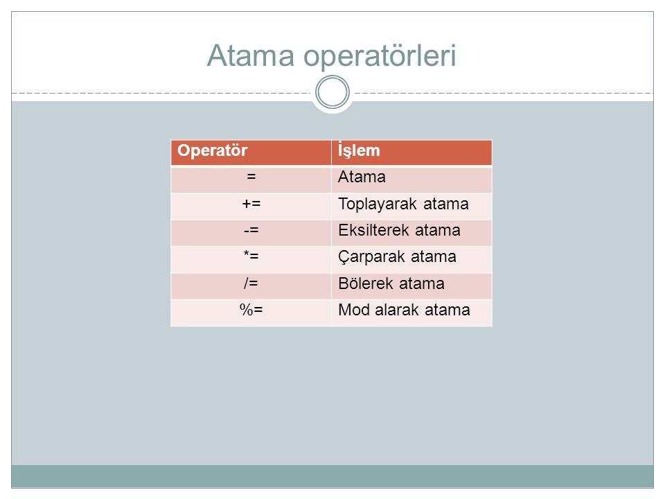 Atama operatörleri Operatörİşlem =Atama +=Toplayarak atama -=Eksilterek atama *=Çarparak atama /=Bölerek atama %=Mod alarak atama