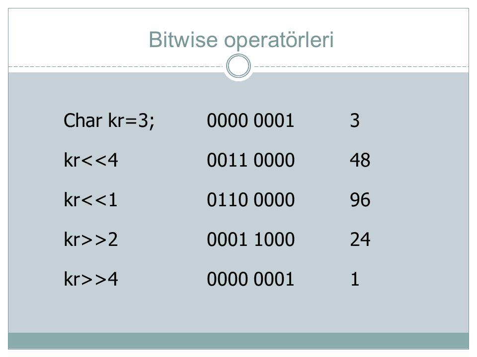 Bitwise operatörleri Char kr=3;0000 00013 kr<<40011 000048 kr<<10110 000096 kr>>20001 100024 kr>>40000 00011