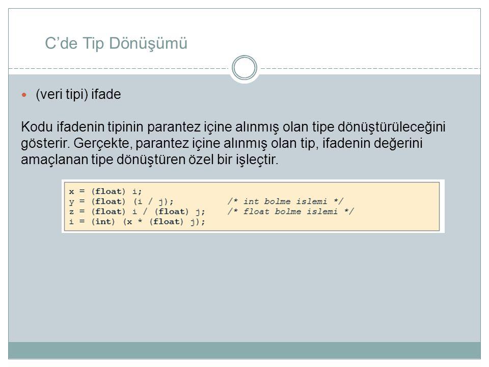 C'de Tip Dönüşümü (veri tipi) ifade Kodu ifadenin tipinin parantez içine alınmış olan tipe dönüştürüleceğini gösterir. Gerçekte, parantez içine alınmı