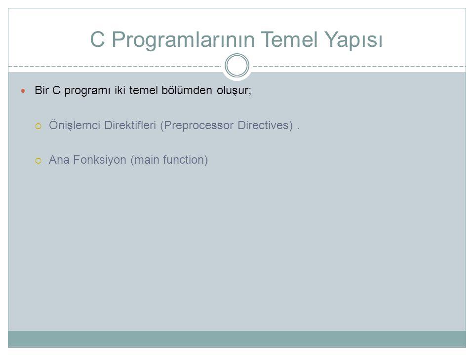 C Programlarının Temel Yapısı Bir C programı iki temel bölümden oluşur;  Önişlemci Direktifleri (Preprocessor Directives).  Ana Fonksiyon (main func