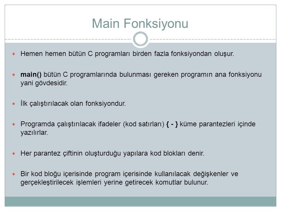 Main Fonksiyonu Hemen hemen bütün C programları birden fazla fonksiyondan oluşur. main() bütün C programlarında bulunması gereken programın ana fonksi