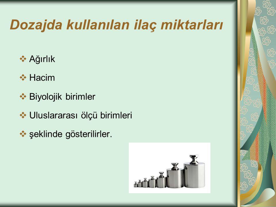 1-Ağırlık Birimleri g : gram mg: miligram µg : mikrogram