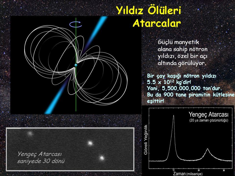 Yıldız Ölüleri Atarcalar Yengeç Atarcası saniyede 30 dönü Güçlü manyetik alana sahip nötron yıldızı, özel bir açı altında görülüyor. Bir çay kaşığı nö