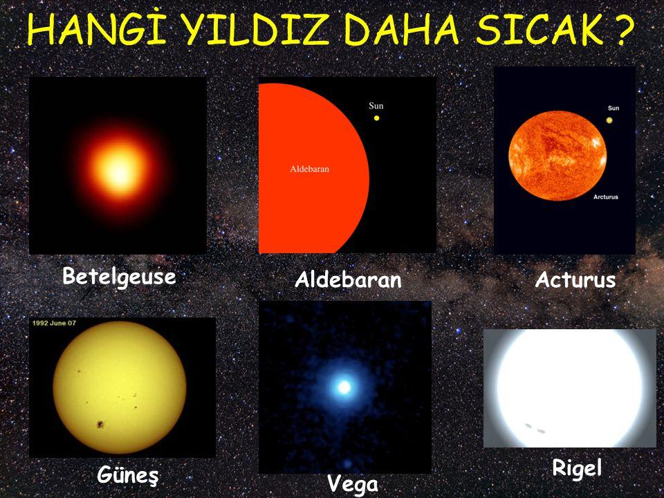 Güneş Vega Rigel Betelgeuse AldebaranActurus HANGİ YILDIZ DAHA SICAK ?
