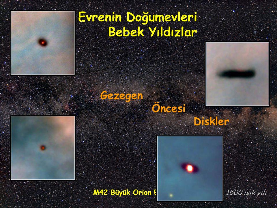 M42 Büyük Orion Bulutsusu Evrenin Doğumevleri Bebek Yıldızlar 1500 ışık yılı Gezegen Öncesi Diskler