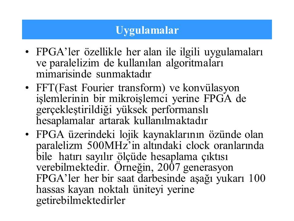 Uygulamalar FPGA'ler özellikle her alan ile ilgili uygulamaları ve paralelizim de kullanılan algoritmaları mimarisinde sunmaktadır FFT(Fast Fourier tr