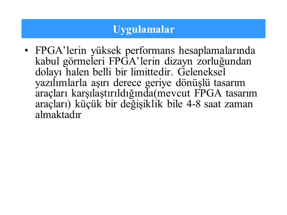 Uygulamalar FPGA'lerin yüksek performans hesaplamalarında kabul görmeleri FPGA'lerin dizayn zorluğundan dolayı halen belli bir limittedir. Geleneksel