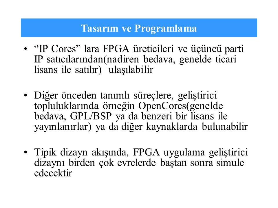 """Tasarım ve Programlama """"IP Cores"""" lara FPGA üreticileri ve üçüncü parti IP satıcılarından(nadiren bedava, genelde ticari lisans ile satılır) ulaşılabi"""