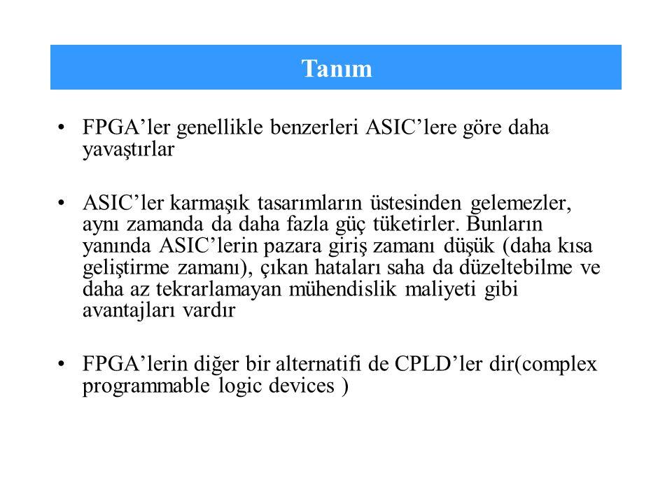 Tanım FPGA'ler genellikle benzerleri ASIC'lere göre daha yavaştırlar ASIC'ler karmaşık tasarımların üstesinden gelemezler, aynı zamanda da daha fazla
