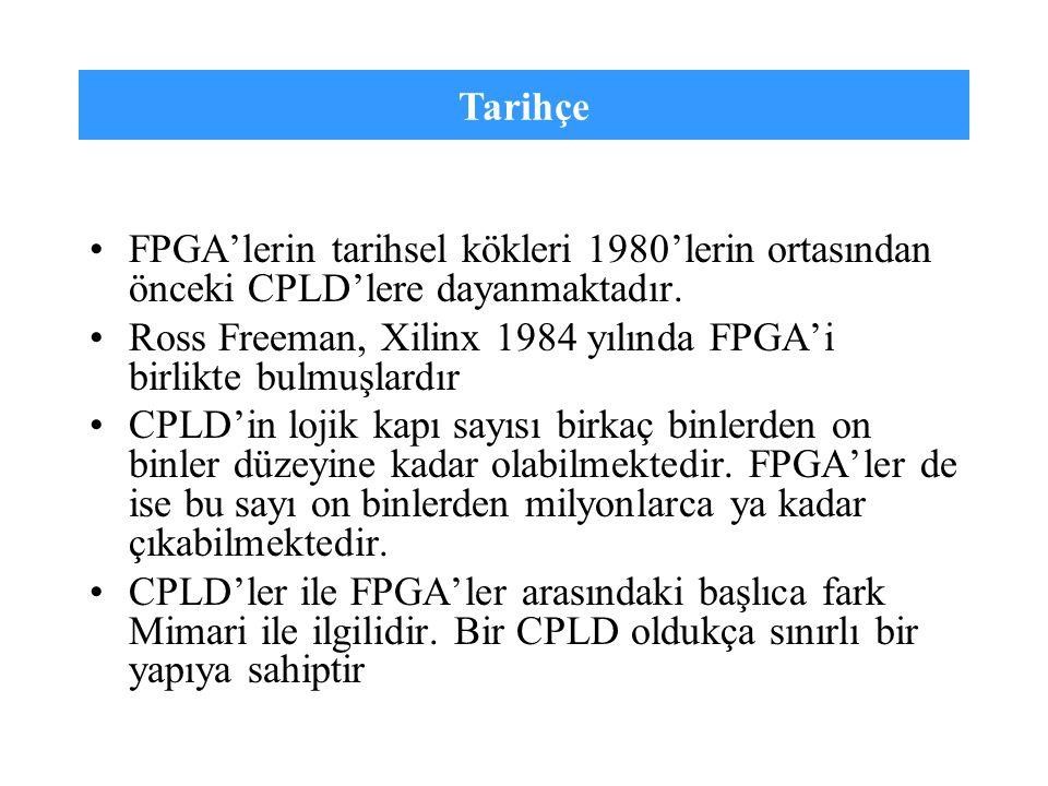 Tarihçe FPGA'lerin tarihsel kökleri 1980'lerin ortasından önceki CPLD'lere dayanmaktadır. Ross Freeman, Xilinx 1984 yılında FPGA'i birlikte bulmuşlard