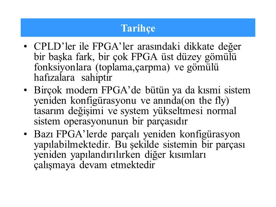 Tarihçe CPLD'ler ile FPGA'ler arasındaki dikkate değer bir başka fark, bir çok FPGA üst düzey gömülü fonksiyonlara (toplama,çarpma) ve gömülü hafızala