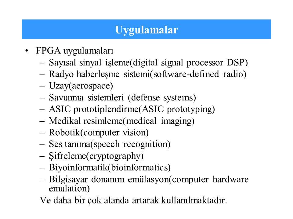Uygulamalar FPGA uygulamaları –Sayısal sinyal işleme(digital signal processor DSP) –Radyo haberleşme sistemi(software-defined radio) –Uzay(aerospace)