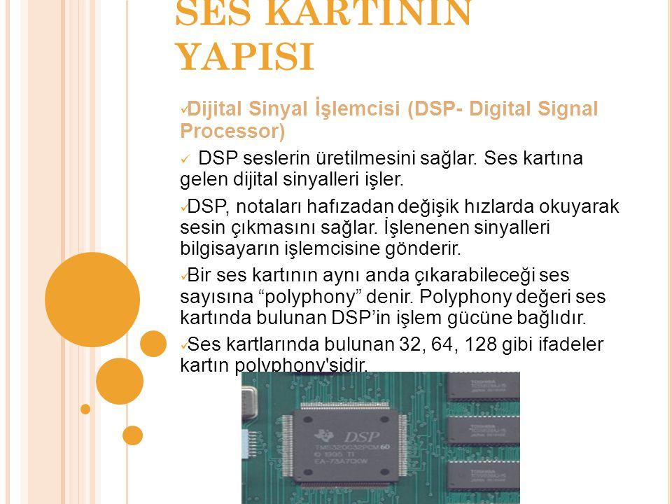 SES KARTININ YAPISI Dijital Sinyal İşlemcisi (DSP- Digital Signal Processor) DSP seslerin üretilmesini sağlar.