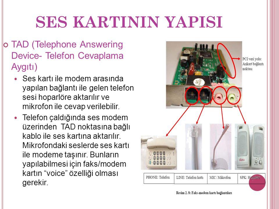 SES KARTININ YAPISI TAD (Telephone Answering Device- Telefon Cevaplama Aygıtı) Ses kartı ile modem arasında yapılan bağlantı ile gelen telefon sesi hoparlöre aktarılır ve mikrofon ile cevap verilebilir.