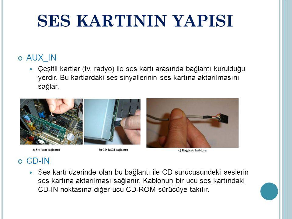 SES KARTININ YAPISI AUX_IN Çeşitli kartlar (tv, radyo) ile ses kartı arasında bağlantı kurulduğu yerdir.