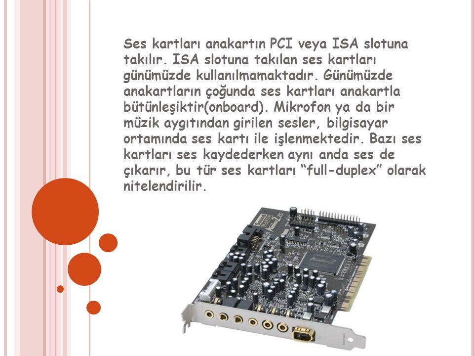 Ses kartları anakartın PCI veya ISA slotuna takılır.
