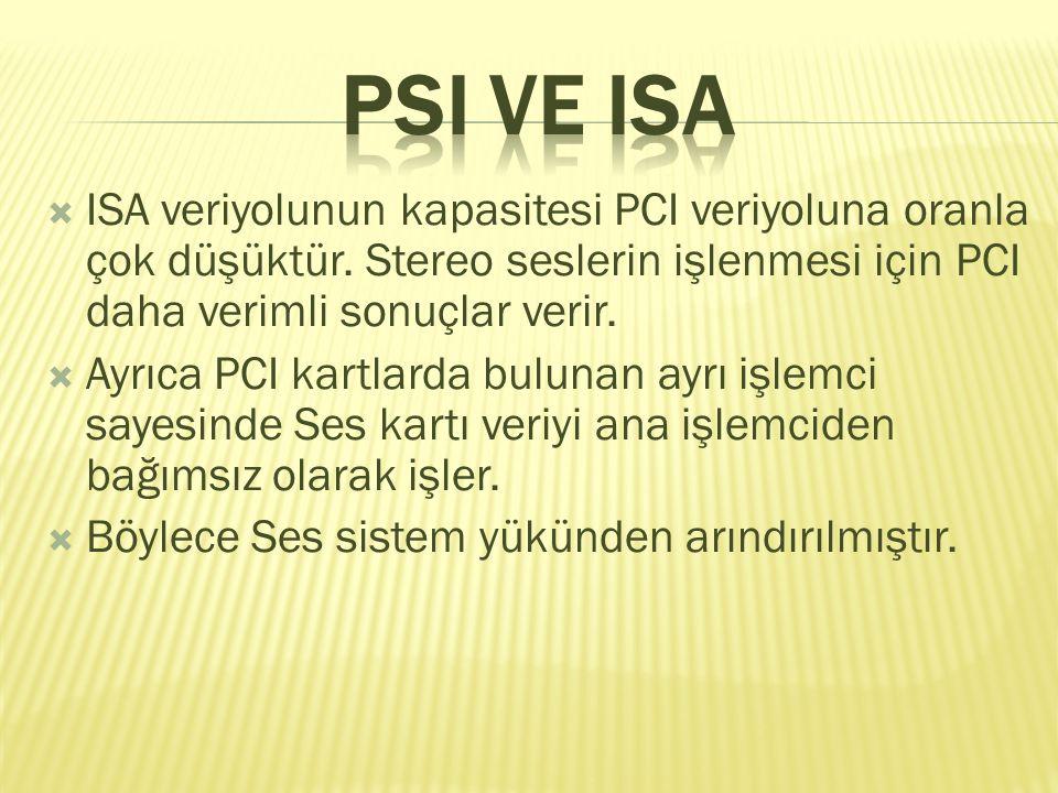  ISA veriyolunun kapasitesi PCI veriyoluna oranla çok düşüktür.