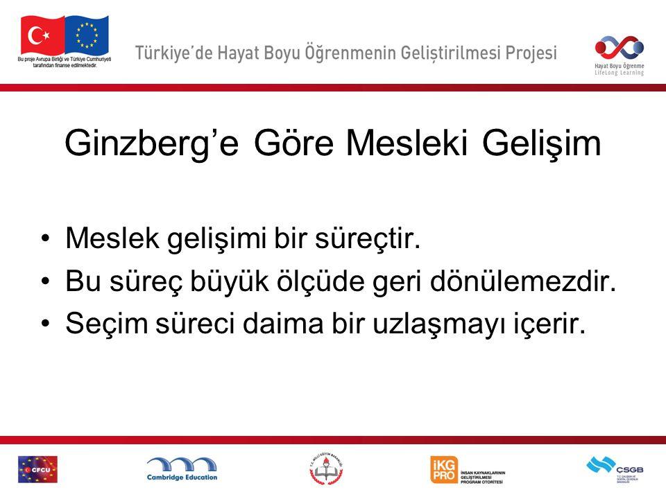 Ginzberg'e Göre Mesleki Gelişim Meslek gelişimi bir süreçtir.