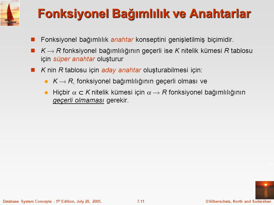 ©Silberschatz, Korth and Sudarshan7.11Database System Concepts - 5 th Edition, July 28, 2005. Fonksiyonel Bağımlılık ve Anahtarlar Fonksiyonel bağımlı