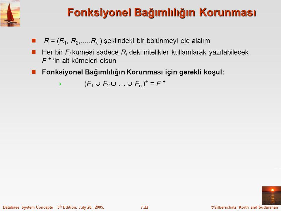 ©Silberschatz, Korth and Sudarshan7.22Database System Concepts - 5 th Edition, July 28, 2005. Fonksiyonel Bağımlılığın Korunması R = (R 1, R 2,.....R