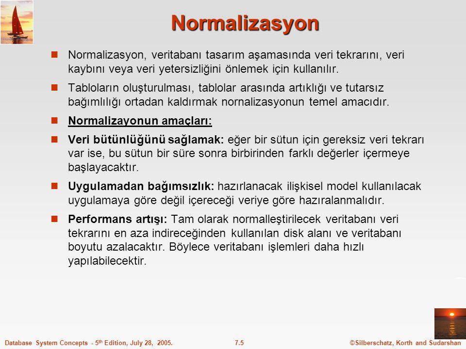 ©Silberschatz, Korth and Sudarshan7.5Database System Concepts - 5 th Edition, July 28, 2005. Normalizasyon Normalizasyon, veritabanı tasarım aşamasınd