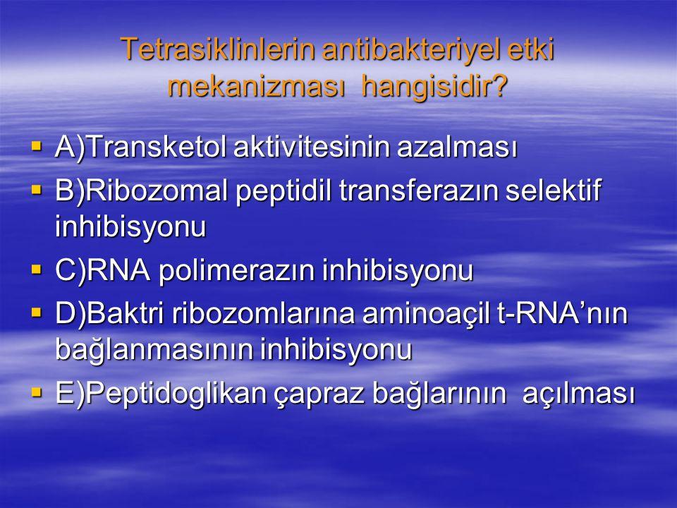 Tetrasiklinlerin antibakteriyel etki mekanizması hangisidir.