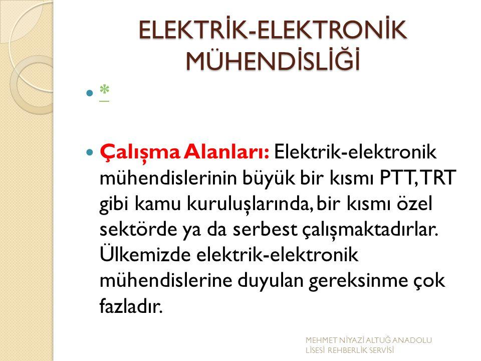 ELEKTR İ K-ELEKTRON İ K MÜHEND İ SL İĞİ * Çalışma Alanları: Elektrik-elektronik mühendislerinin büyük bir kısmı PTT, TRT gibi kamu kuruluşlarında, bir