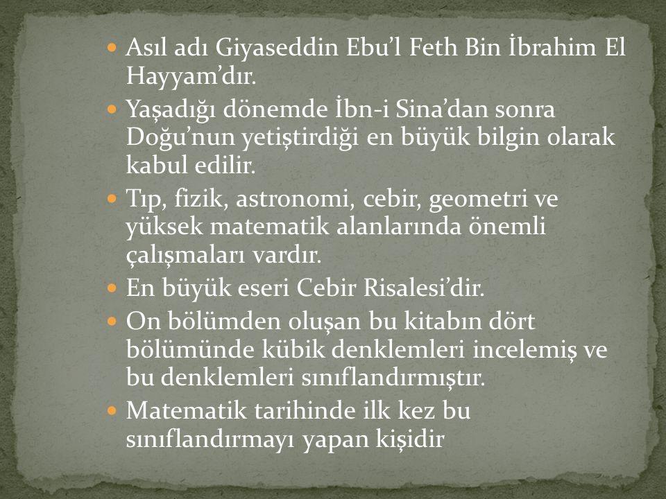 Asıl adı Giyaseddin Ebu'l Feth Bin İbrahim El Hayyam'dır. Yaşadığı dönemde İbn-i Sina'dan sonra Doğu'nun yetiştirdiği en büyük bilgin olarak kabul edi