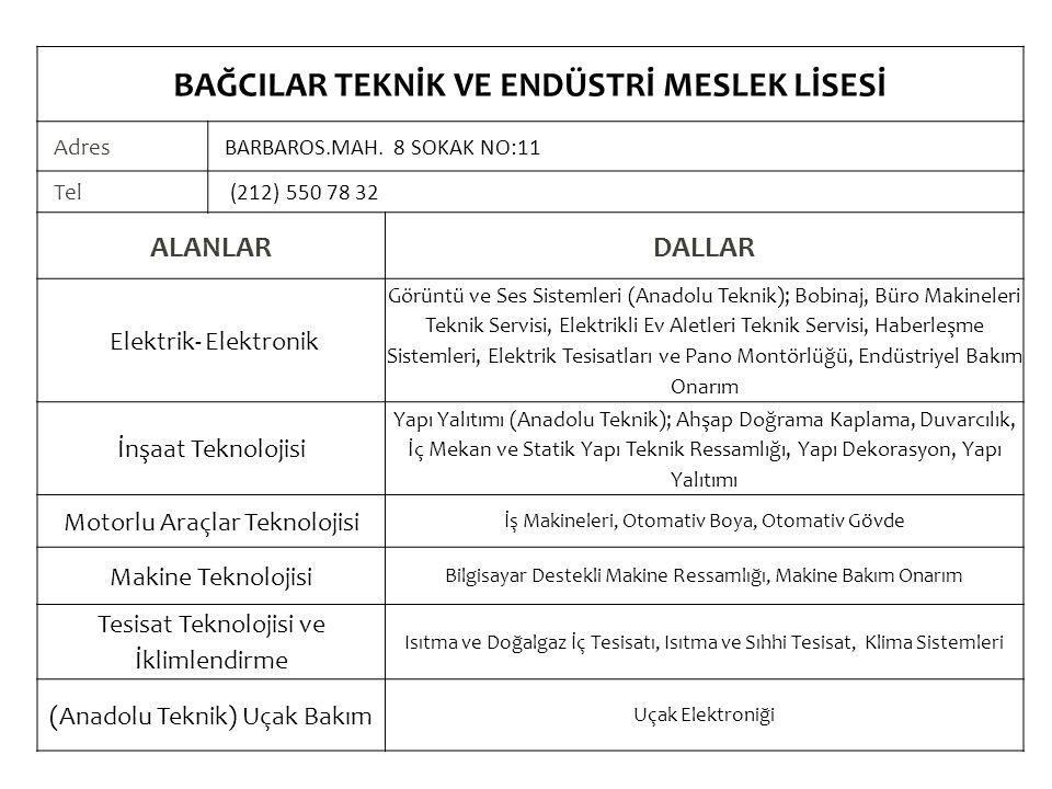 BAĞCILAR TEKNİK VE ENDÜSTRİ MESLEK LİSESİ Adres BARBAROS.MAH.