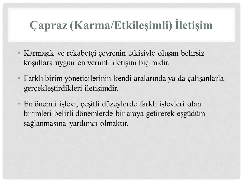 Çapraz (Karma/Etkileşimli) İletişim Karmaşık ve rekabetçi çevrenin etkisiyle oluşan belirsiz koşullara uygun en verimli iletişim biçimidir. Farklı bir