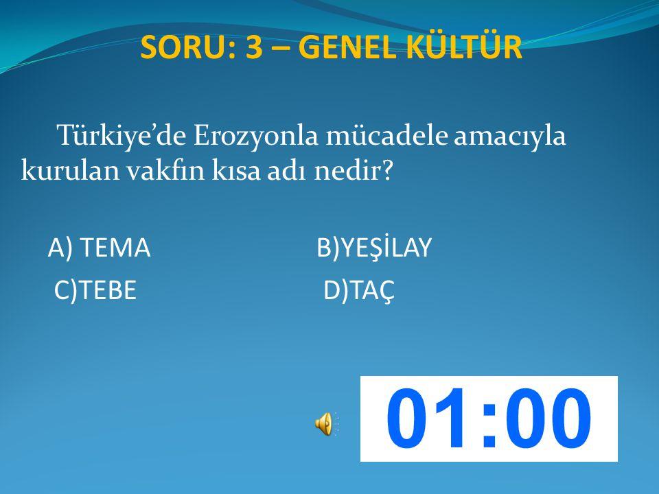 SORU: 3 – GENEL KÜLTÜR Türkiye'de Erozyonla mücadele amacıyla kurulan vakfın kısa adı nedir? A) TEMA B)YEŞİLAY C)TEBE D)TAÇ