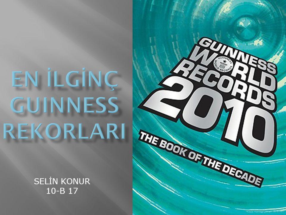 Guinness rekorları 7 kategoriden oluşur:  İlginç Özellikler  Doğal Dünya  Bilim ve teknoloji  Sanat ve Medya  Modern Toplum  Gezi ve Taşıtlar  Sporlar ve Oyunlar
