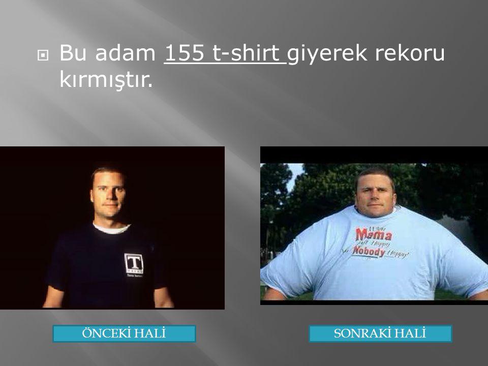  Bu adam 155 t-shirt giyerek rekoru kırmıştır. ÖNCEKİ HALİSONRAKİ HALİ