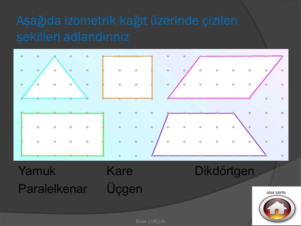 Aşağıda izometrik kağıt üzerinde çizilen şekilleri adlandırınız Yamuk Paralelkenar Kare Üçgen Dikdörtgen Burak ÇURÇUN