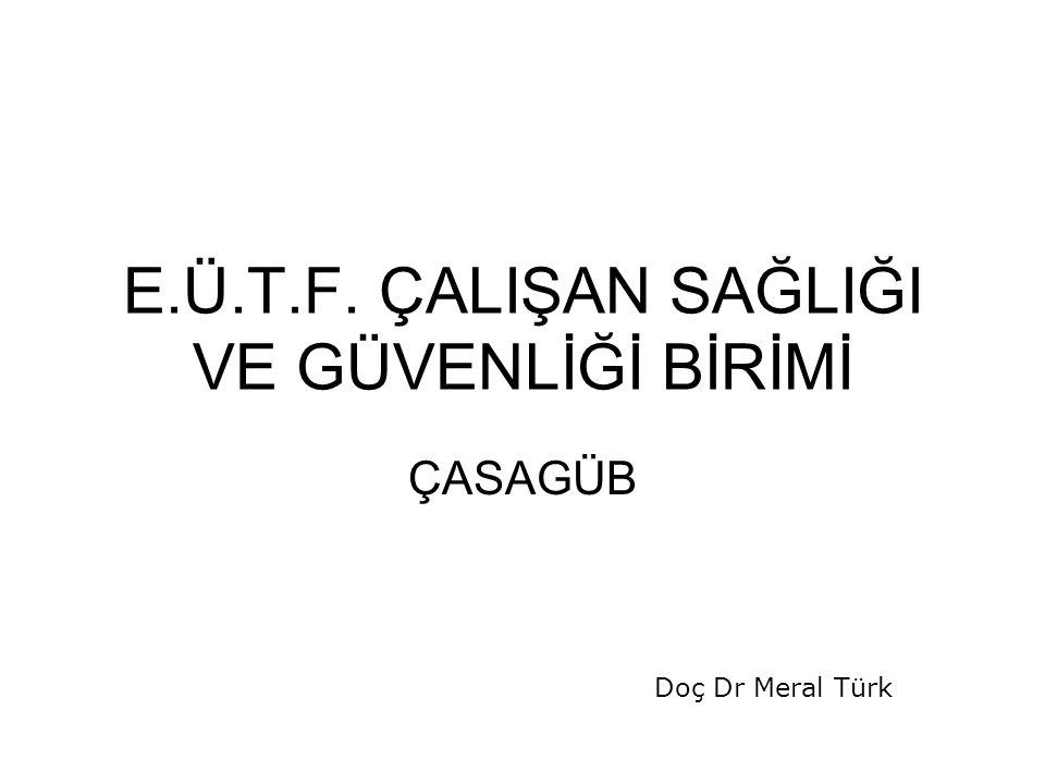 E.Ü.T.F. ÇALIŞAN SAĞLIĞI VE GÜVENLİĞİ BİRİMİ ÇASAGÜB Doç Dr Meral Türk