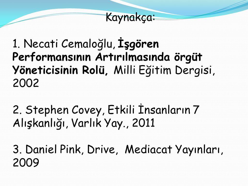 Kaynakça: 1. Necati Cemaloğlu, İşgören Performansının Artırılmasında örgüt Yöneticisinin Rolü, Milli Eğitim Dergisi, 2002 2. Stephen Covey, Etkili İns