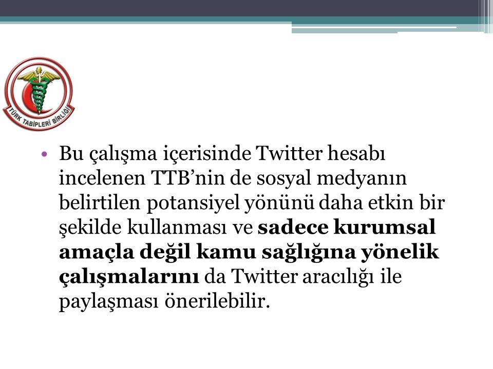 Bu çalışma içerisinde Twitter hesabı incelenen TTB'nin de sosyal medyanın belirtilen potansiyel yönünü daha etkin bir şekilde kullanması ve sadece kur