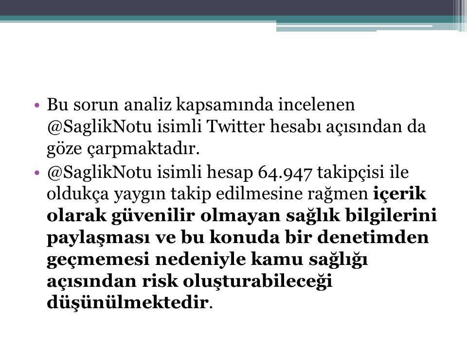 Bu sorun analiz kapsamında incelenen @SaglikNotu isimli Twitter hesabı açısından da göze çarpmaktadır. @SaglikNotu isimli hesap 64.947 takipçisi ile o