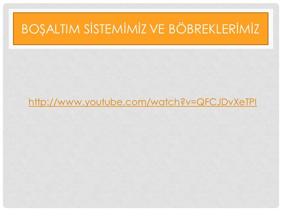 BOŞALTIM SİSTEMİMİZ VE BÖBREKLERİMİZ http://www.youtube.com/watch?v=QFCJDvXeTPI