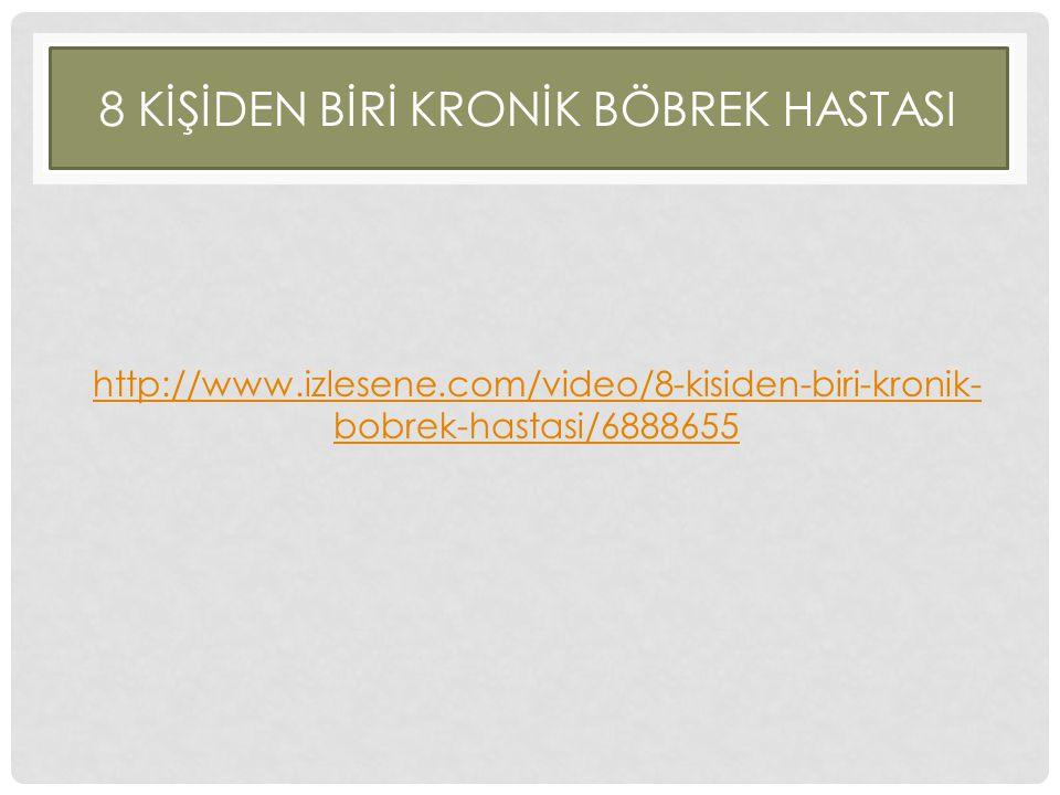 8 KİŞİDEN BİRİ KRONİK BÖBREK HASTASI http://www.izlesene.com/video/8-kisiden-biri-kronik- bobrek-hastasi/6888655