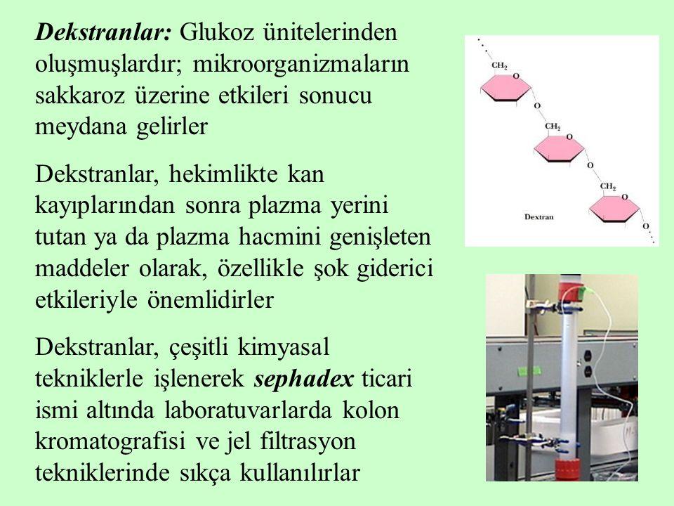 Dekstranlar: Glukoz ünitelerinden oluşmuşlardır; mikroorganizmaların sakkaroz üzerine etkileri sonucu meydana gelirler Dekstranlar, hekimlikte kan kayıplarından sonra plazma yerini tutan ya da plazma hacmini genişleten maddeler olarak, özellikle şok giderici etkileriyle önemlidirler Dekstranlar, çeşitli kimyasal tekniklerle işlenerek sephadex ticari ismi altında laboratuvarlarda kolon kromatografisi ve jel filtrasyon tekniklerinde sıkça kullanılırlar