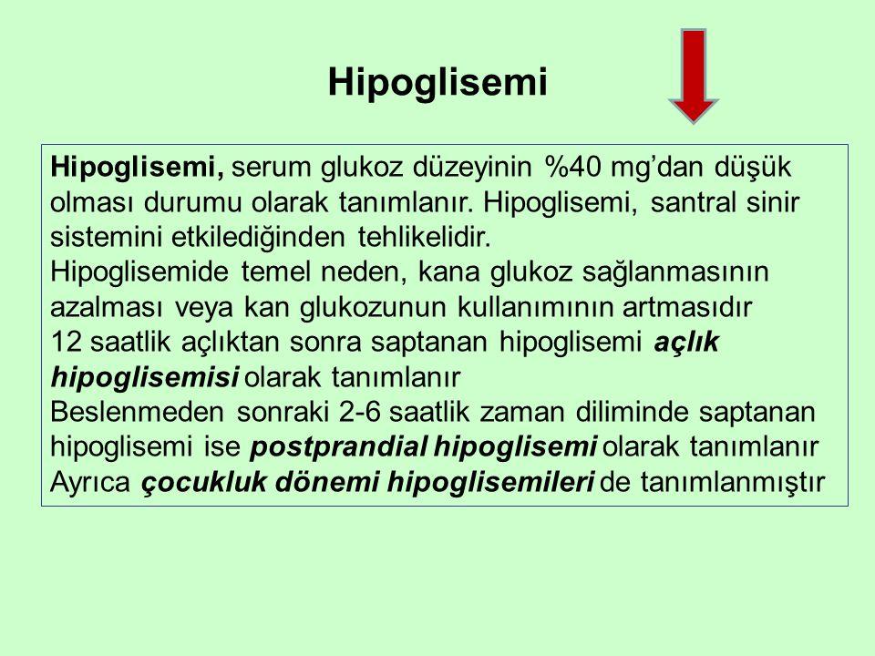 Hipoglisemi Hipoglisemi, serum glukoz düzeyinin %40 mg'dan düşük olması durumu olarak tanımlanır.