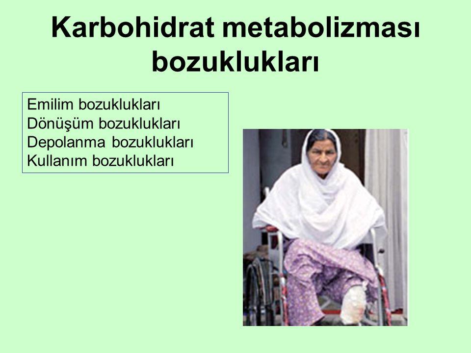 Karbohidrat metabolizması bozuklukları Emilim bozuklukları Dönüşüm bozuklukları Depolanma bozuklukları Kullanım bozuklukları