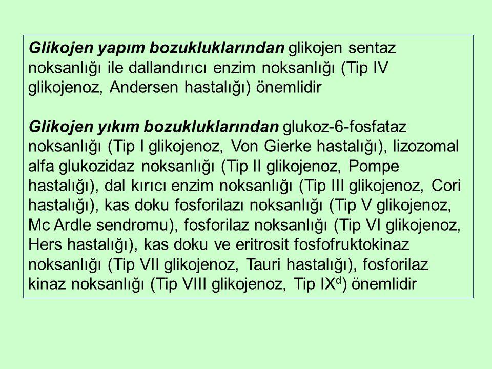 Glikojen yapım bozukluklarından glikojen sentaz noksanlığı ile dallandırıcı enzim noksanlığı (Tip IV glikojenoz, Andersen hastalığı) önemlidir Glikojen yıkım bozukluklarından glukoz-6-fosfataz noksanlığı (Tip I glikojenoz, Von Gierke hastalığı), lizozomal alfa glukozidaz noksanlığı (Tip II glikojenoz, Pompe hastalığı), dal kırıcı enzim noksanlığı (Tip III glikojenoz, Cori hastalığı), kas doku fosforilazı noksanlığı (Tip V glikojenoz, Mc Ardle sendromu), fosforilaz noksanlığı (Tip VI glikojenoz, Hers hastalığı), kas doku ve eritrosit fosfofruktokinaz noksanlığı (Tip VII glikojenoz, Tauri hastalığı), fosforilaz kinaz noksanlığı (Tip VIII glikojenoz, Tip IX d ) önemlidir